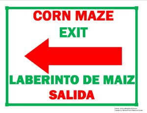 Corn Maze Exit (Left Arrow) Sign