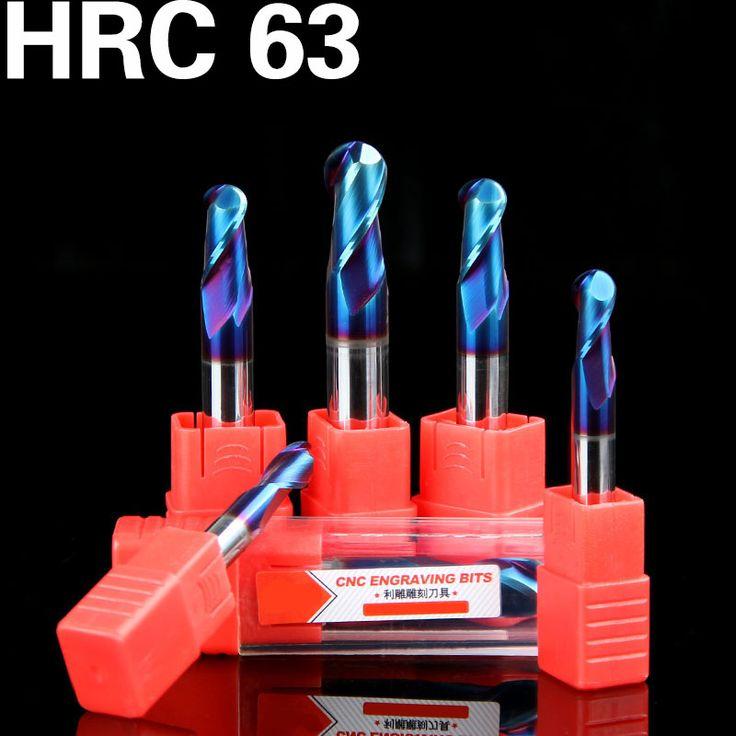1 HRC63 2-Flutes Spiral bit TiAIN Coating End Mill CNC Milling Cutter  router bit for Aluminum CNC milling machine