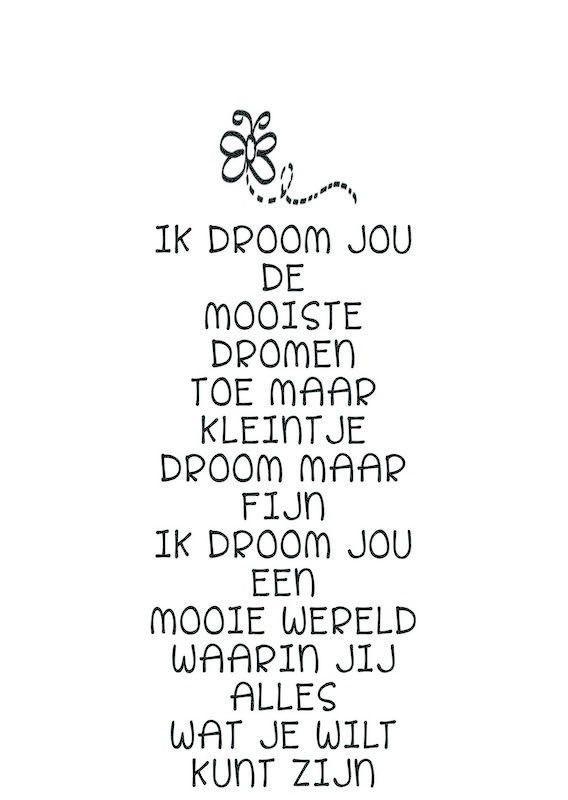 Kaart met gedicht: Ik droom jou. Ansichtkaart Gedicht Ik droom jou de mooiste dromen... Perfect voor boven een kinderbedje! De ansichtkaart is ontworpen door Jentl van Woordkunsten. Kinderkamer babykamer decoratie geboorte baby zwart wit