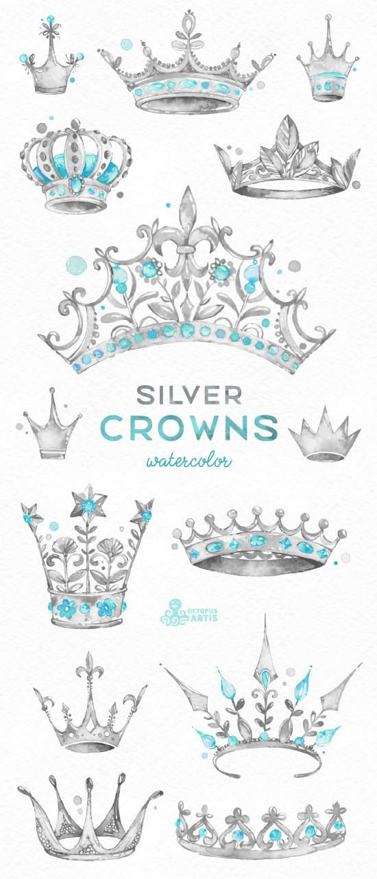 Silver Crowns. 14 Watercolor handpainted Clipart. Royal, diadem, tiara, king, princess, grey, logo, invitation, digital png, style, sticker