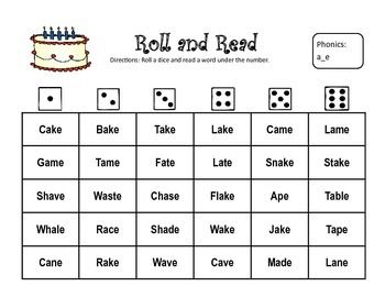 Long Vowel Roll And Read Long Vowels