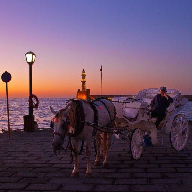 Walks around Chania with a horse! #Sunset #chania Photo credits: @lefkothea_donou