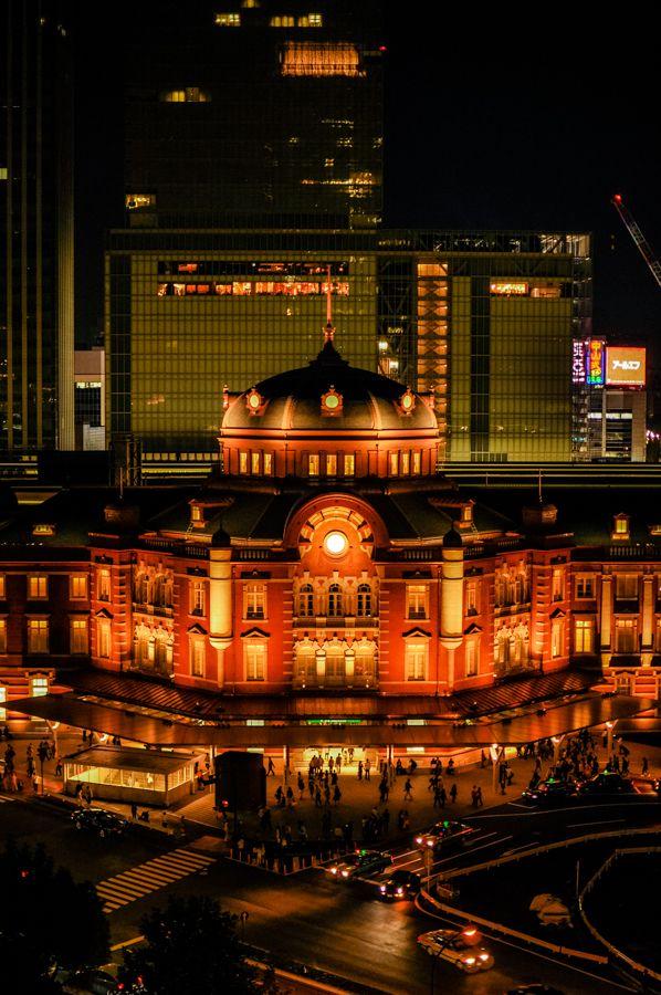 """【東京駅】 ライトアップが素敵でした。""""[ Tokyo Station ] light up was lovely . following Take tripod . """""""