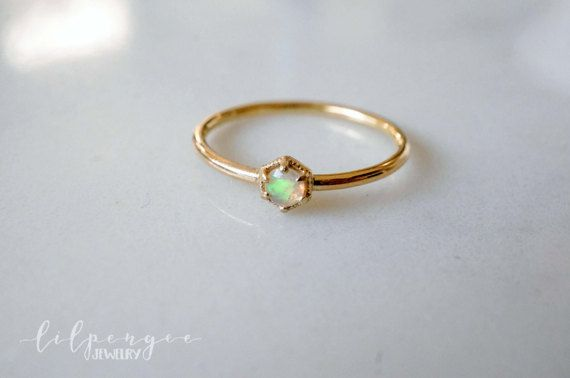3mm Ethiopian opal 14k SOLID GOLD ring. HEXAGON ring geometric stacking ring opal gemstone