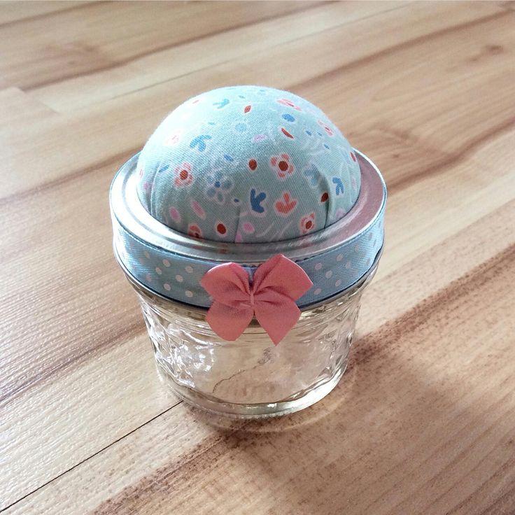 Mason jar pincushion
