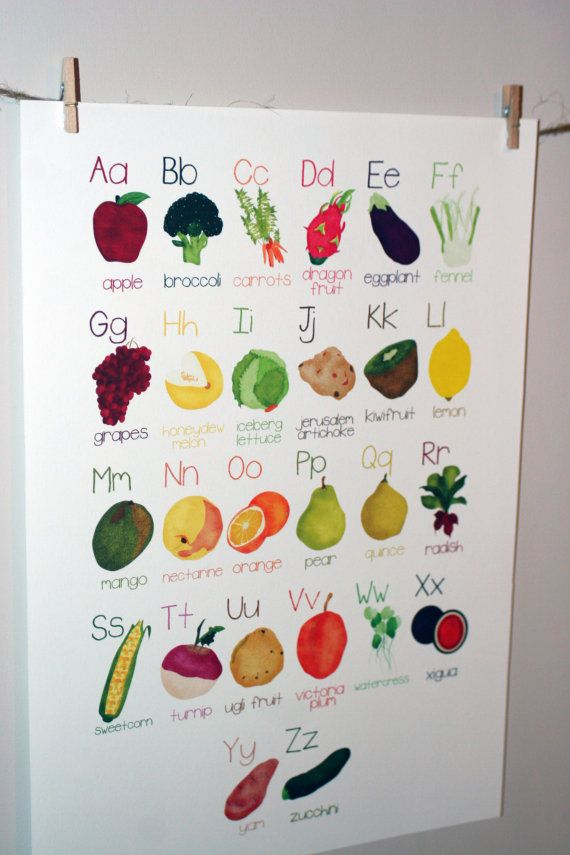 Alphabet Fruit and Vegetables Poster A-Z on Etsy- Would love this for the boys,maybe in the playroom or in the kitchen.