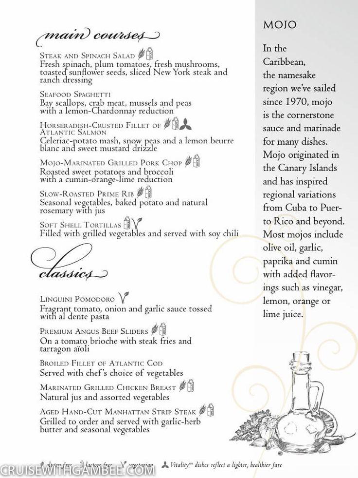 Serenade Of The Seas Dining Room Menu