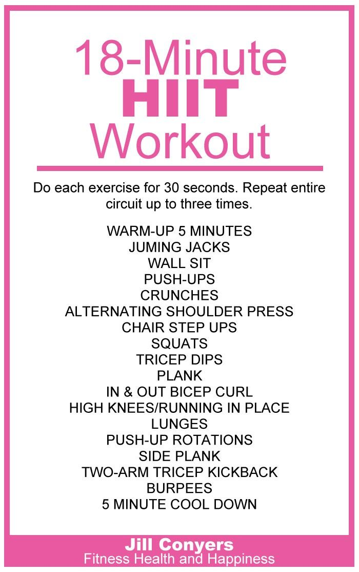 We can all find 18 minutes in our day! 18-Minute HIIT Workout jillconyers.com #fitness #workout @jillconyers #move