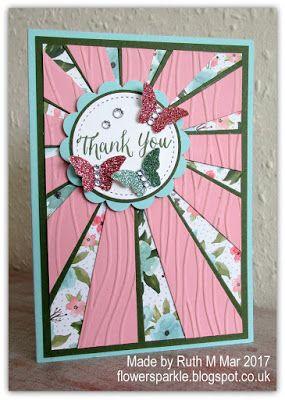 Flower Sparkle: Sparkly Butterflies Sunburst Thank You Card