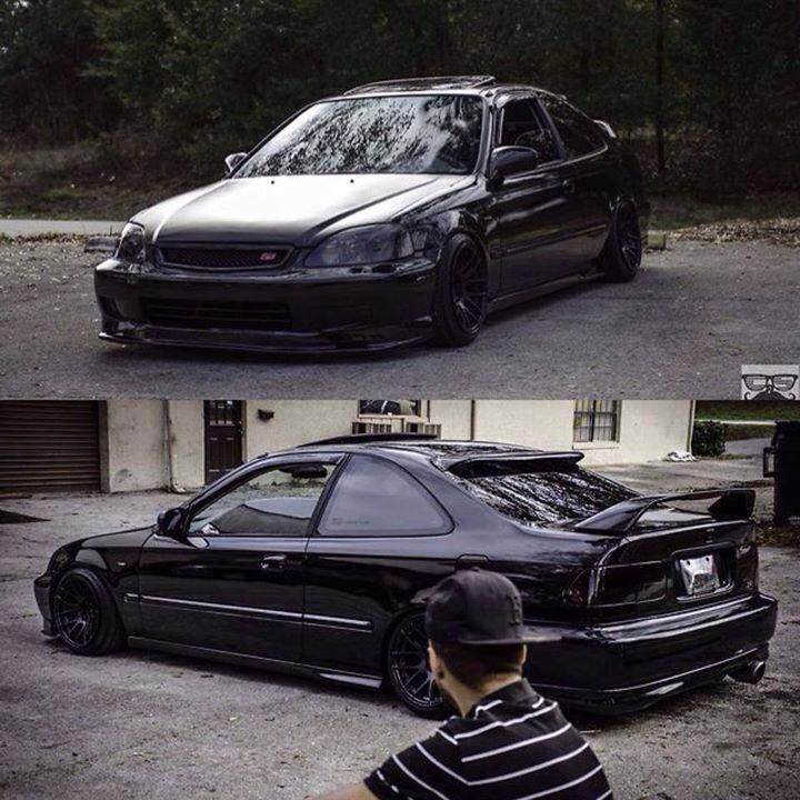#honda #civic #ek #coupe #slammed #stance #blackout