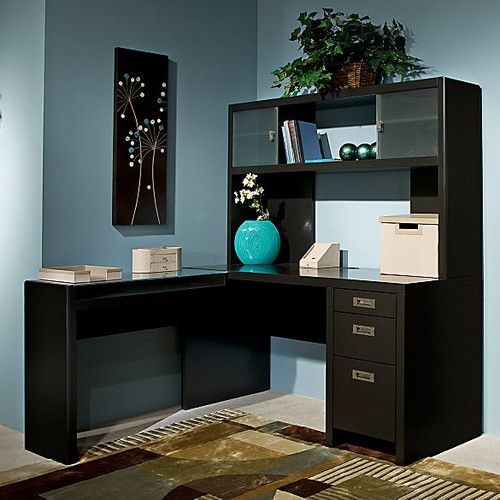 Found it at Wayfair - New York Skyline L-Shape Computer Desk with Hutch