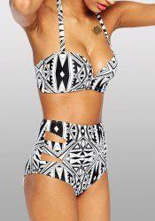 Sexy Halter Hollow Out Geometric Pattern Women's Bikini Set