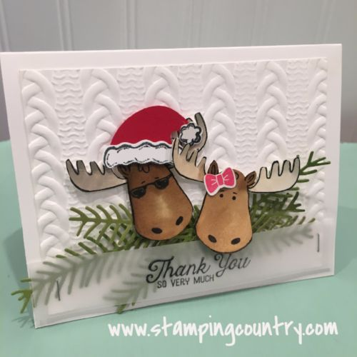 Moose wearing sunglasses & Santa's hat, Jolly Friends Stampin' Up!, Winter Thank You Card
