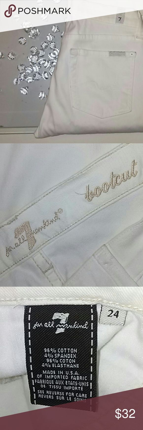 {7 For All Mankind } white bootcut jeans Bootcut {7 For All Mankind} jeans in white 7 For All Mankind Jeans Boot Cut