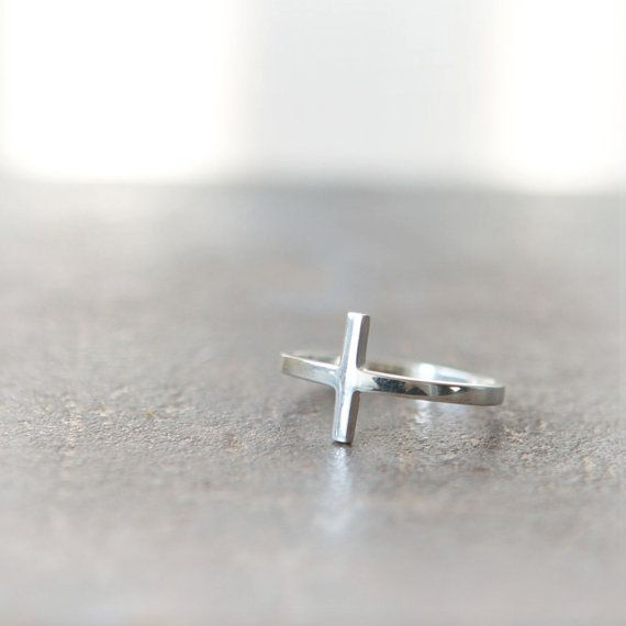Shhhh... I'm getting this for Camille for Christmas! Sideways Cross Ring in sterling silver by laonato on Etsy, $29.00