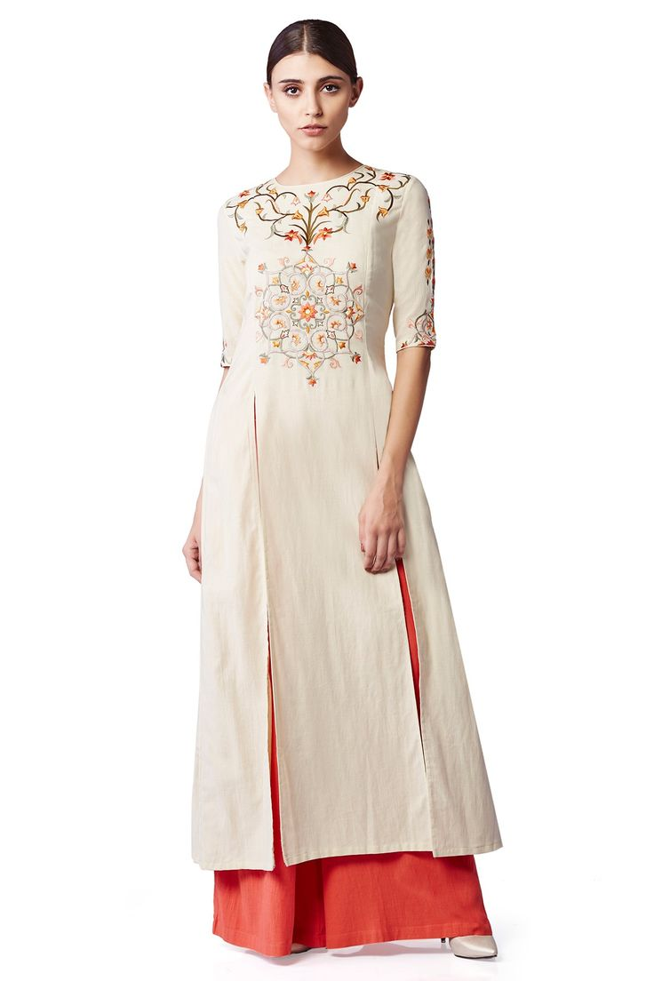 Embroidered Sand Kurta with Trousers