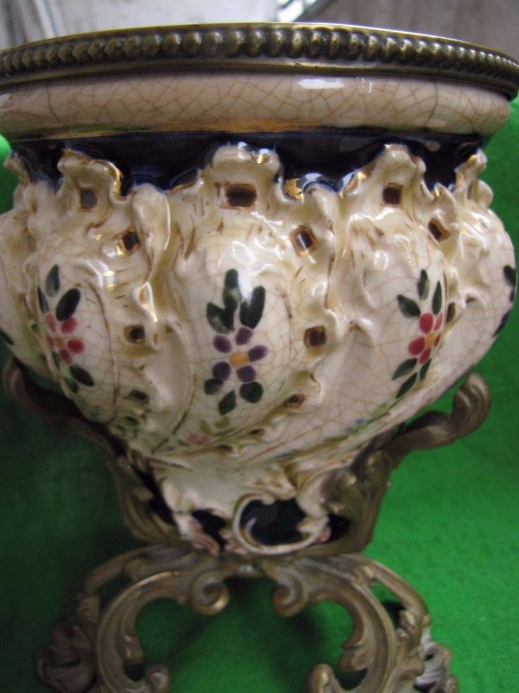 Antique France old porcelain brass kerosene lamp stand signed B W 1503 very RARE