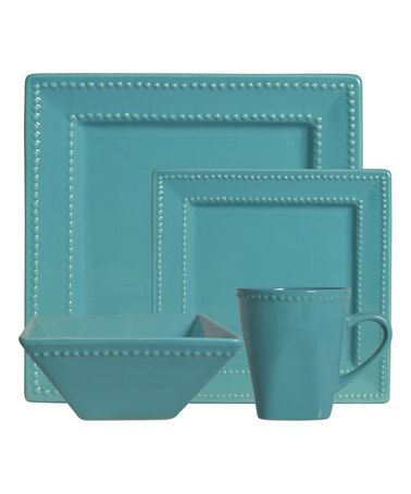 Another great find on #zulily! Teal Nova 16-Piece Square Beaded Green Dinner Set #zulilyfinds