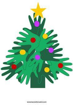 Albero di Natale realizzato con le sagome delle mani. Idea da tenere presente come lavoretto per Natale. LAVORETTO NATALE CON LE MANI Materiale: cartoncini