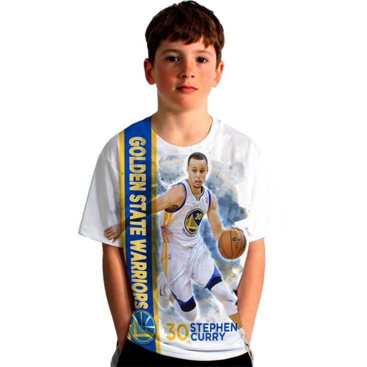 Levelwear Youth Golden State Warriors Steph Curry Breakaway White T-Shirt, Boy's, Size: Large, Team