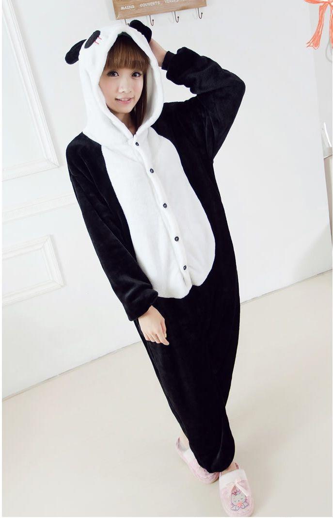 Flannel family animal pajamas one piece onsies onesies cosplay pigiama panda onesie panda pajama pijamas enteros de animales