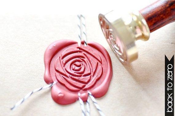 Cachet de cire B20 timbre fleur de Camellia pivoine