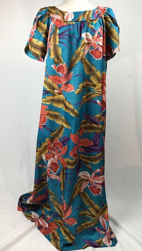 Vtg 80s Hilo Hattie Hawaiian Muumuu Maxi Dress XL Hibiscus Floral Aloha Black #HiloHattie #MuumuuHawaiianMaxi