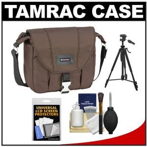 Another great product: Tamrac 5421 Aria 1 Compact / ILC Camera Shoulder Bag (Brown) with Tripod + Cleaning Kit The Tamrac 5421 Aria 1 Compact / ILC Camera Shoulder Bag is made from a rich  smooth  water-resistant nylon fabric. The front flap with metal buckle closure covers the zippered main compartment while the zippered  pleated front pocket expands to hold equipment. An internal zippered pocket on the back holds other small items while an open back pocket keeps a manual ha