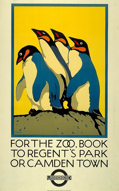 For the Zoo Book to Regent's Park; by Charles Paine, 1921  The exotic animals of London's zoos were a source of fascination to Londoners and were made the subject of over 100 transport posters. London Zoo in Regent's Park, the world's first scientific zoo, was the most frequently publicised. Ironically, it was a long walk from any Underground station which is why the posters advertised both Camden Town and Regents Park stations.