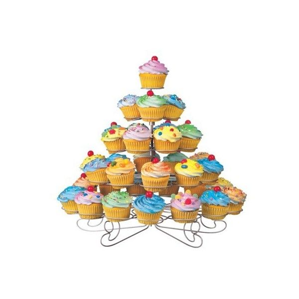 Wilton Cupcakes and More Stand - Silvertone (Holds 38) ($50) ❤ liked on Polyvore featuring home, kitchen & dining, serveware, food, cake stands & tiered servers, dessert stand, wilton cupcake stand, tiered cupcake holder, tiered cake stand and serving stand