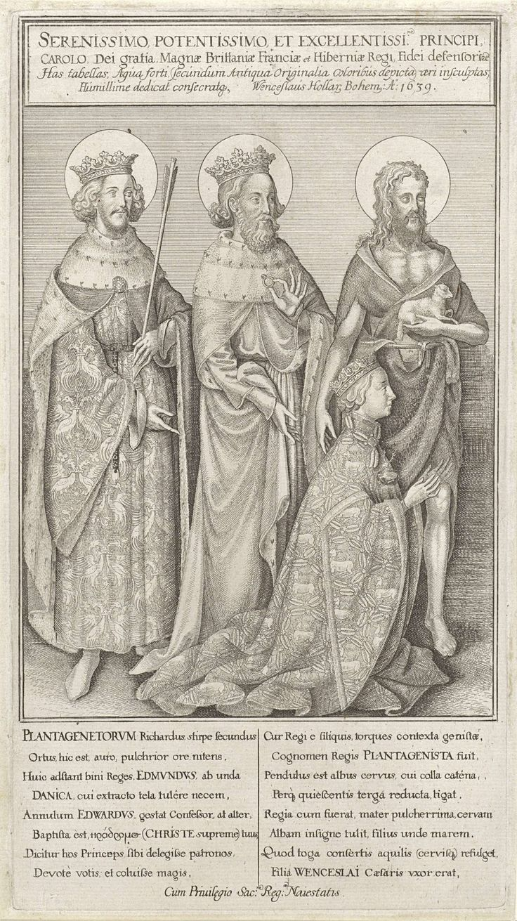 Geknielde koning Richard II vergezeld door Johannes de Doper, koning Edmund en koning Eduard de Belijder, Wenceslaus Hollar, anoniem, Henry Peacham, 1639