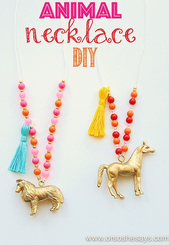 DIY Craft: How adorable is this?!? Animal Necklaces - A Great Craft for the Kids (she: Sierra)