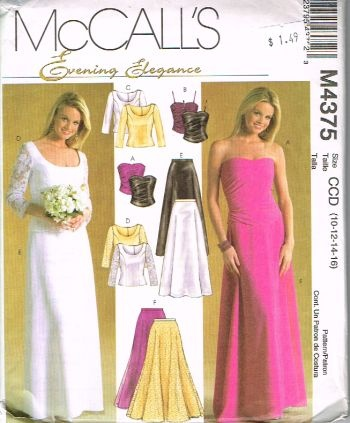 Mccalls M4375, not cut, sizes 10 to 16, evening elegance