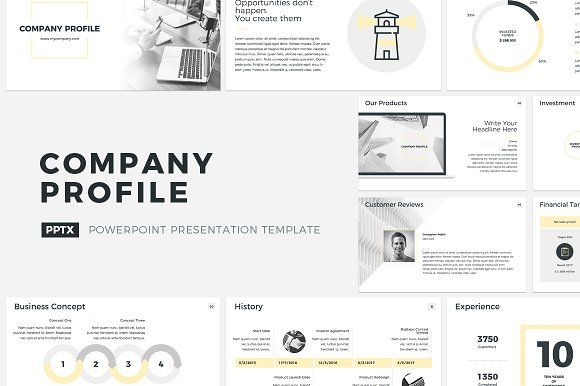 Company Profile PowerPoint by CreativeSlides on @creativemarket