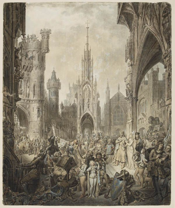 The Entry of Frederick into the Castle of Otranto, 1790, Carter, John. The Castle of Otranto is regarded as the originator of the Gothic novel as a literary genre.