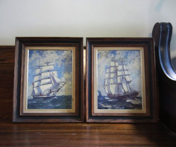 Cool for upstairs hallway bathroom -- Pair Vintage Antique Nautical Oil Paintings by TheeLetterQ on Etsy, $175.00
