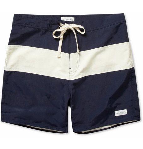 Saturdays Surf NYC Grant Mid-Length Striped Swim Shorts