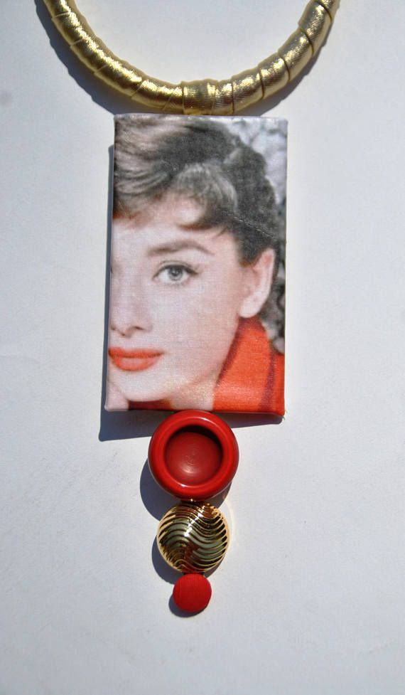 Golden fabric statement necklace with Audrey Hepburn and