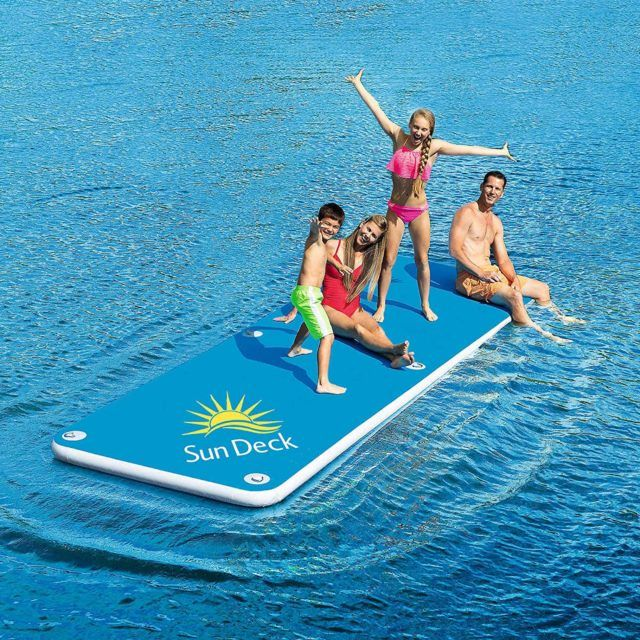 Bestways 15 X 5 Inflatable Sun Deck Floating In Water Lake Toys Lake Floats
