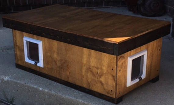 Cat House Cat Shelter Heated 2 Door Cat House Cat Shelter Staining Wood