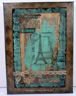Mixed Media Eiffel Tower Canvas created with DecoArt Media and Americana Acrylics | Monique Van Dijk #decoartprojects