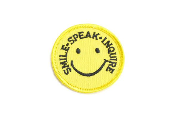 Vintage Sew On Happy Smiley Face Patch, Smiley Face, 1970s Fabric Patch, Smile Speak Inquire, Hippy Iron On Yellow 1970s Patch Epsteam