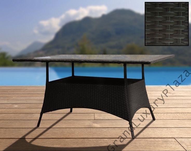 Stół ogrodowy TORINO z technorattanu szklany blat 1,3m