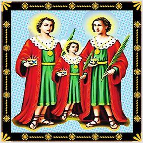 São Cosme, São Damião e Doum - Quadrinhos confeccionados em Azulejo no tamanho 15x15 cm.Tem um ganchinho no verso para fixar na parede. Inspirados em santos católicos. Para entrar em contato conosco, acesse: www.babadocerto.com.br