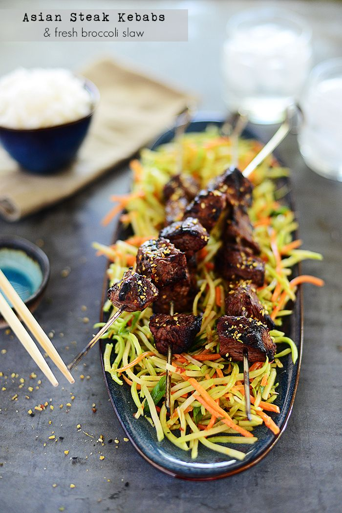 Asian Steak Kebobs & fresh broccoli slaw - dinner ready in less than 30 minutes!