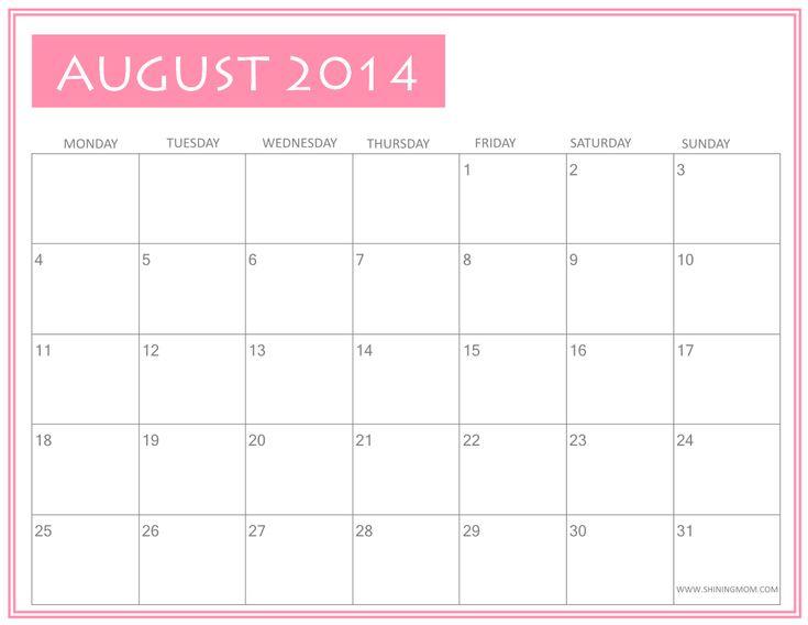 Fresh Designs: August 2014 Calendar by Shining Mom!