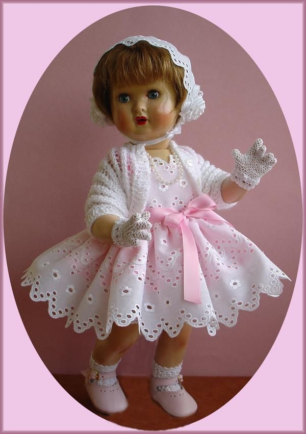 Antique Mariquita Perez doll wearing an outfit inspired by a 1950s Christmas advertisement. From Inma's Doll Collection