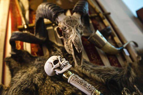 Skull Head Walking Stick Cane Staff Folding made of 3 parts