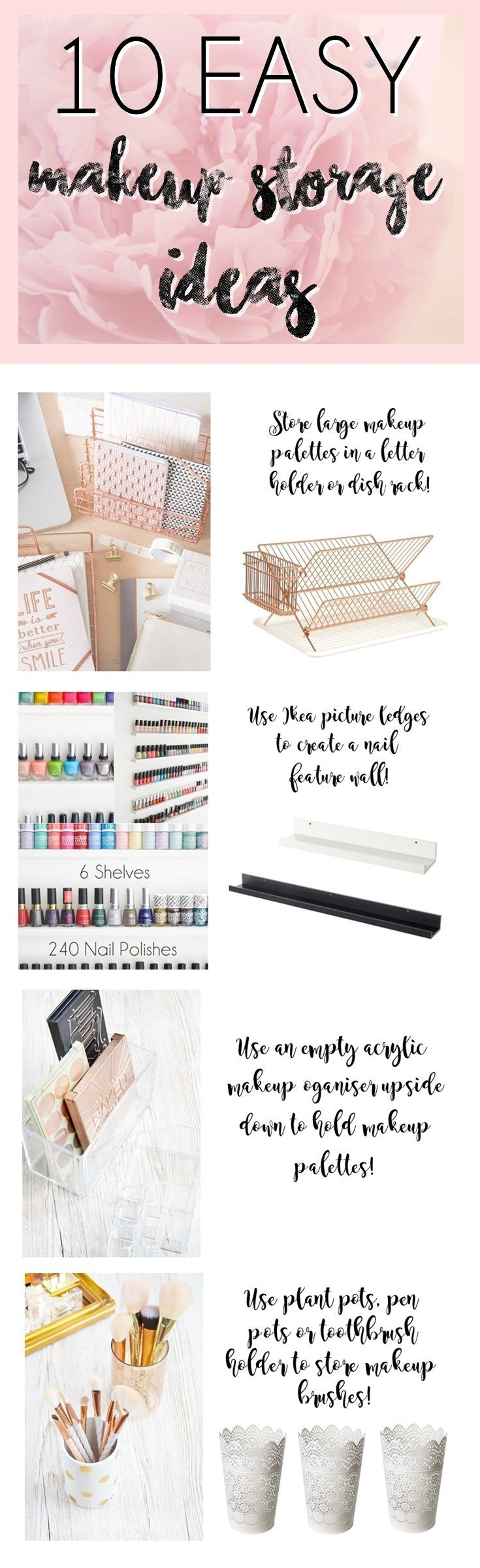 Amazing DIY makeup storage hacks to try out! From makeup palette storage to an easy, yes easy, DIY nail polish wall!