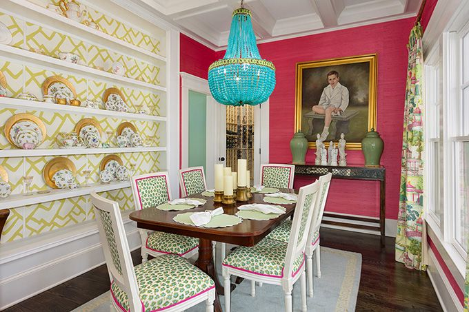 House of turquoise colordrunk designs fun dining room for Pink dining room ideas